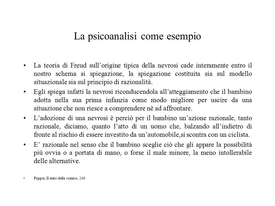 La psicoanalisi come esempio La teoria di Freud sull'origine tipica della nevrosi cade interamente entro il nostro schema si spiegazione, la spiegazio