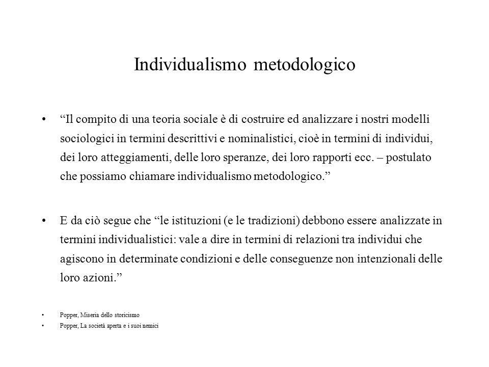 """Individualismo metodologico """"Il compito di una teoria sociale è di costruire ed analizzare i nostri modelli sociologici in termini descrittivi e nomin"""