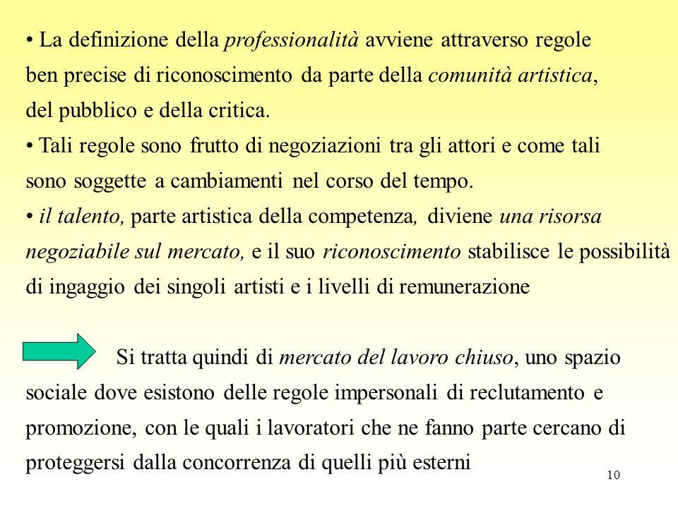 10 La definizione della professionalità avviene attraverso regole ben precise di riconoscimento da parte della comunità artistica, del pubblico e dell