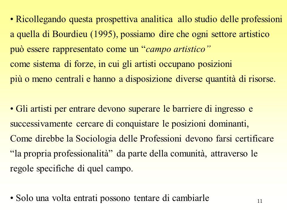 11 Ricollegando questa prospettiva analitica allo studio delle professioni a quella di Bourdieu (1995), possiamo dire che ogni settore artistico può e