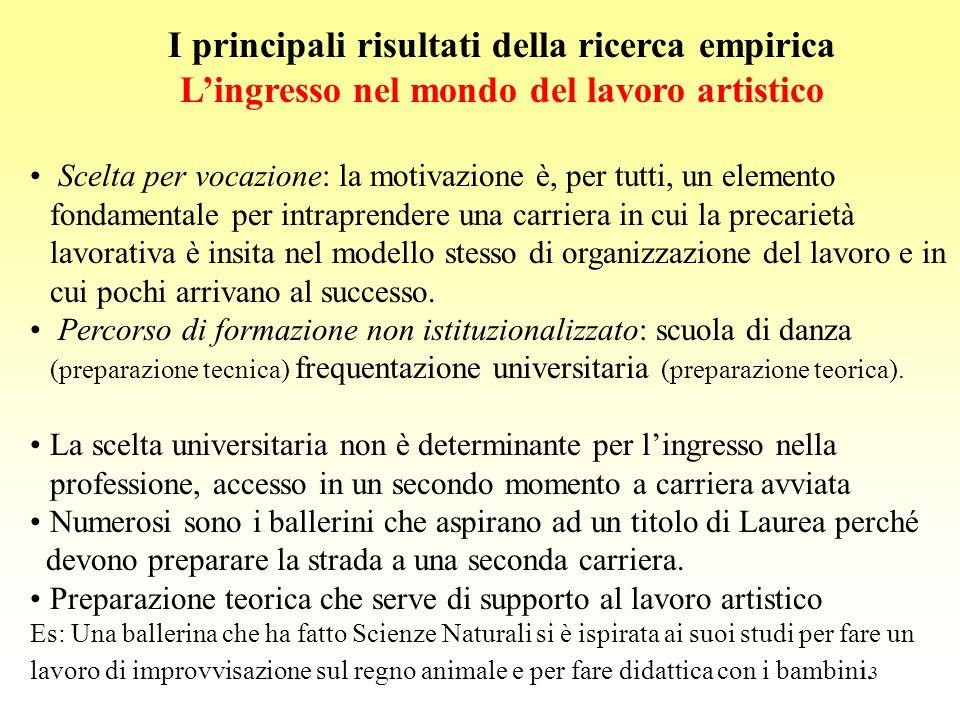 13 I principali risultati della ricerca empirica L'ingresso nel mondo del lavoro artistico Scelta per vocazione: la motivazione è, per tutti, un eleme