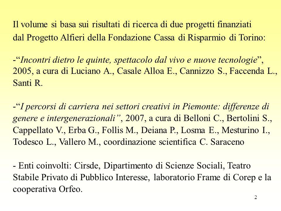 3 Obbiettivi delle due ricerche Ricostruire i meccanismi di regolazione dei settori artistici (teatro e danza) in Italia in città di medie dimensioni individuare le dinamiche di incontro tra domanda e offerta di lavoro capire come si definiscano (e si trasformino) le regole che portano alla strutturazione dei settori considerati sguardo a differenze di genere e tra generazioni diffondere l'approccio della Sociologia delle Professioni (Paradeise, Saglio): in Italia più diffuso quello sulle occupazioni (lavoro dipendente), ma oggi, data l'evoluzione del MdL, può essere utile sguardo a professioni ricollegarlo alle teorie di Bourdieu sul lavoro artistico