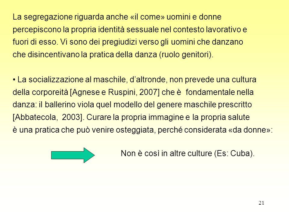 21 La segregazione riguarda anche «il come» uomini e donne percepiscono la propria identità sessuale nel contesto lavorativo e fuori di esso. Vi sono