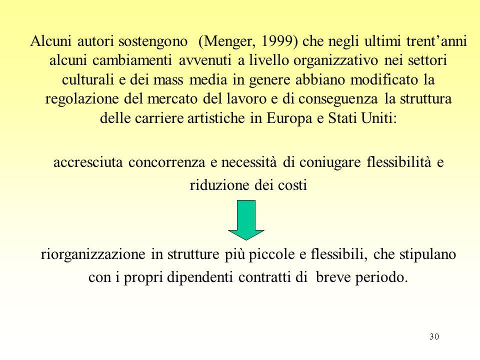 30 Alcuni autori sostengono (Menger, 1999) che negli ultimi trent'anni alcuni cambiamenti avvenuti a livello organizzativo nei settori culturali e dei