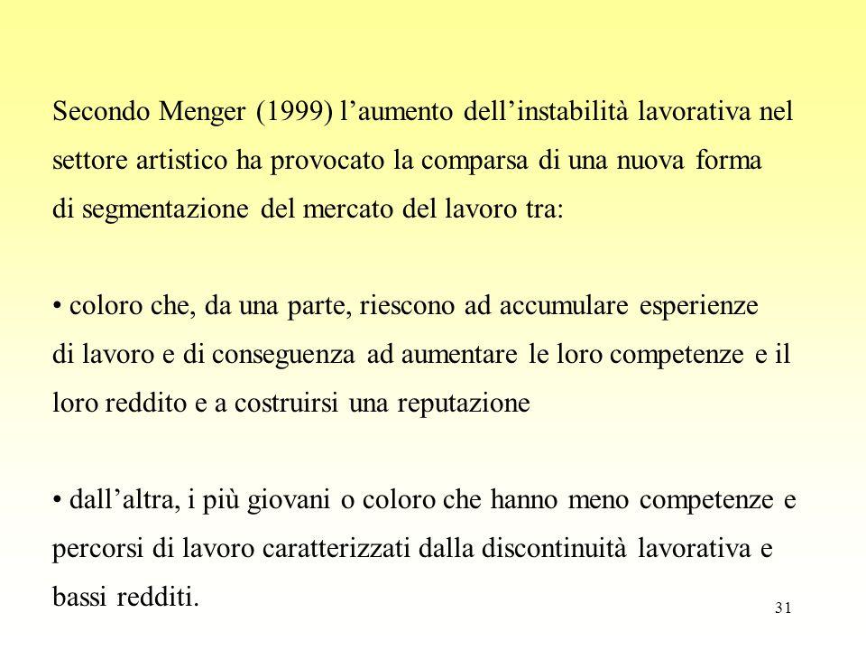 31 Secondo Menger (1999) l'aumento dell'instabilità lavorativa nel settore artistico ha provocato la comparsa di una nuova forma di segmentazione del