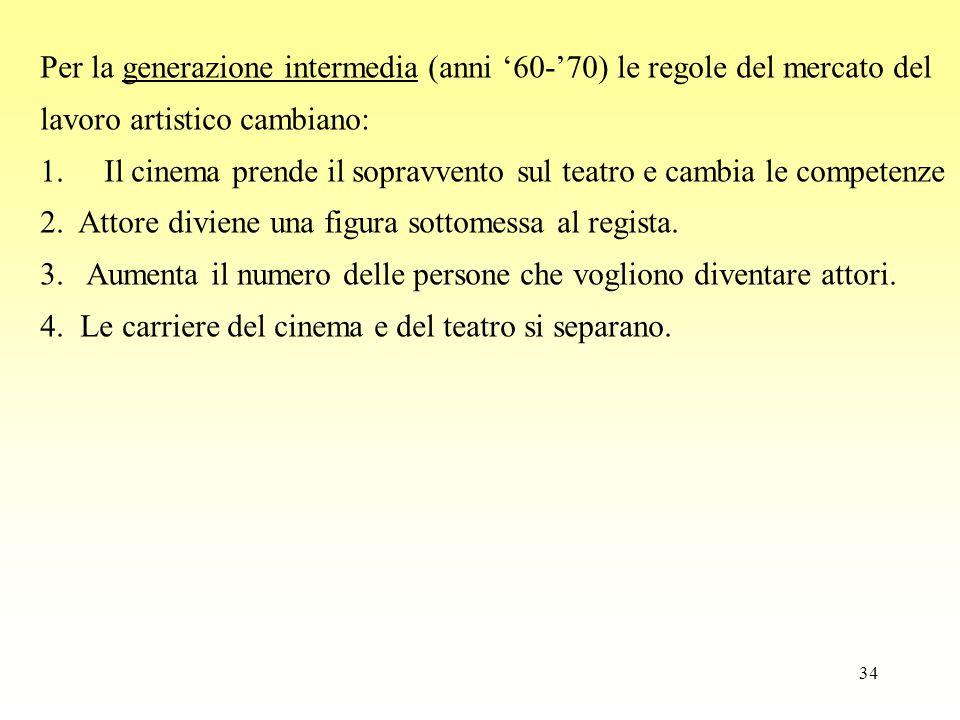 34 Per la generazione intermedia (anni '60-'70) le regole del mercato del lavoro artistico cambiano: 1. Il cinema prende il sopravvento sul teatro e c