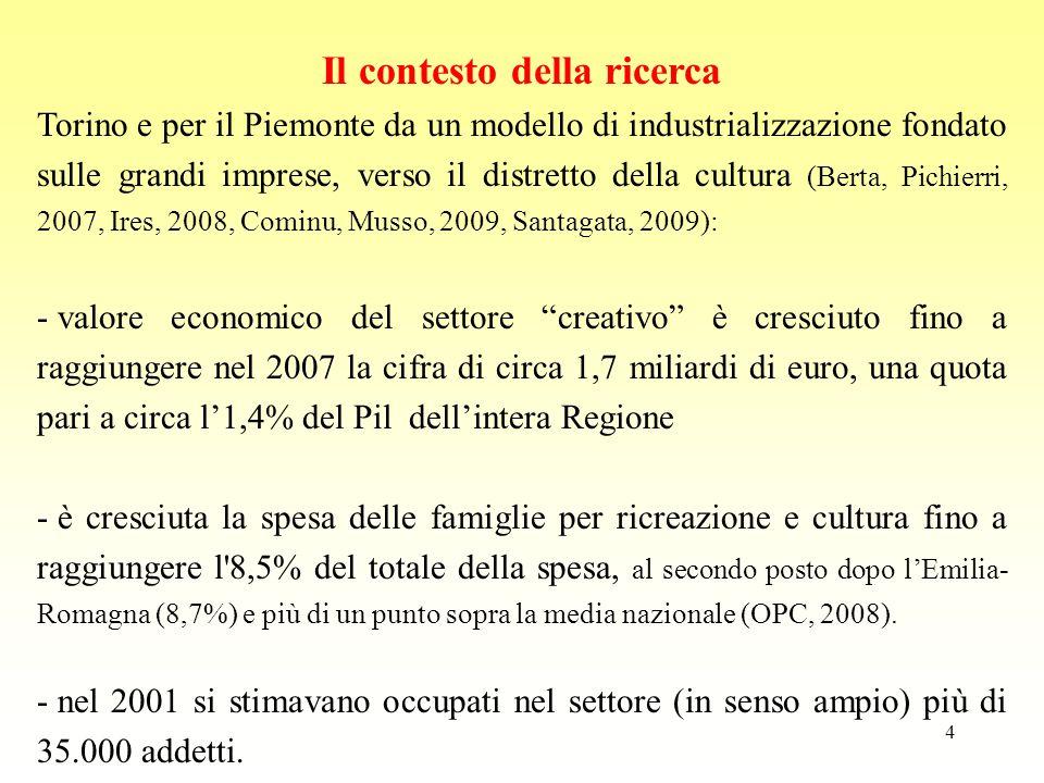 4 Il contesto della ricerca Torino e per il Piemonte da un modello di industrializzazione fondato sulle grandi imprese, verso il distretto della cultu