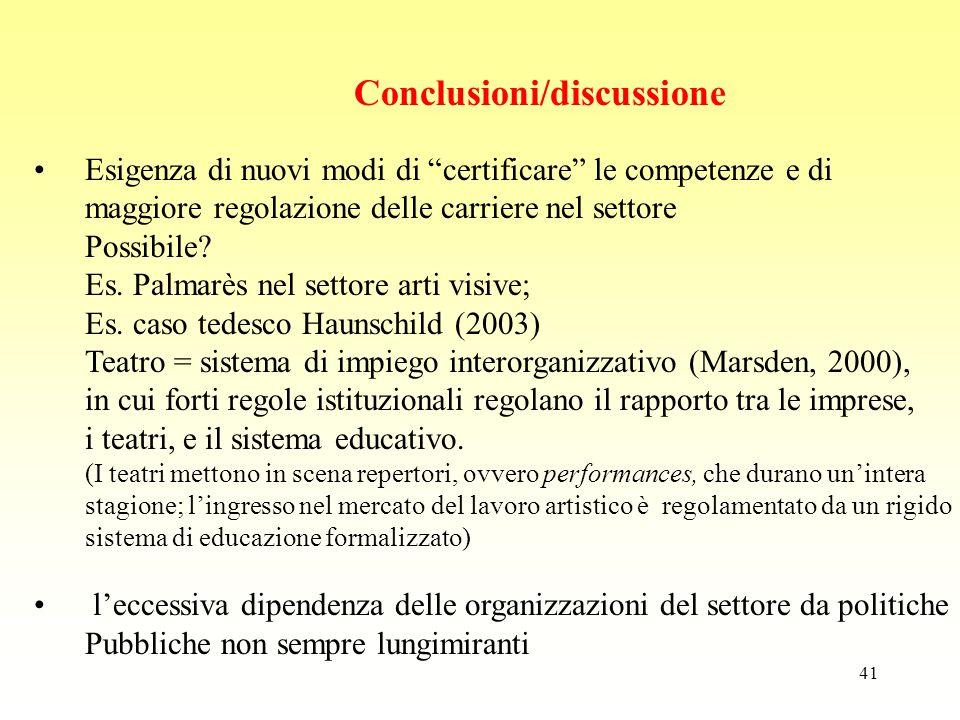 """41 Esigenza di nuovi modi di """"certificare"""" le competenze e di maggiore regolazione delle carriere nel settore Possibile? Es. Palmarès nel settore arti"""