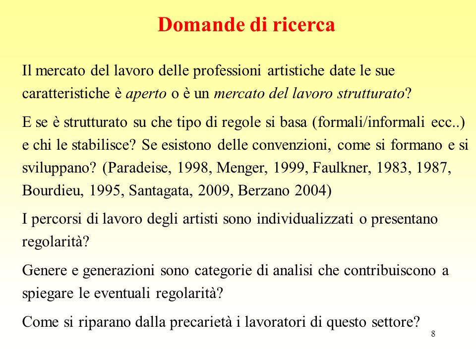 9 Il mercato del lavoro delle professioni artistiche date le sue caratteristiche, dovrebbe essere aperto; in realtà si tratti di un mercato del lavoro strutturato, basato su convenzioni, dove le regole esistono e sono ferree, ma sono di tipo informale ( Paradeise, 1998, Menger, 1999, Faulkner, 1983, 1987, Bourdieu, 1995, Santagata, 2009, Berzano 2004) i percorsi di lavoro degli artisti non siano così individualizzati, come si potrebbe pensare, ma presentino significative regolarità