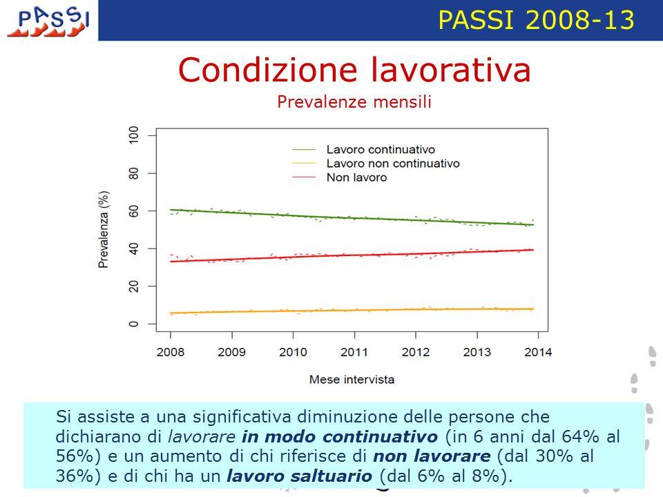 PASSI 2008-13 Si assiste a una significativa diminuzione delle persone che dichiarano di lavorare in modo continuativo (in 6 anni dal 64% al 56%) e un aumento di chi riferisce di non lavorare (dal 30% al 36%) e di chi ha un lavoro saltuario (dal 6% al 8%).