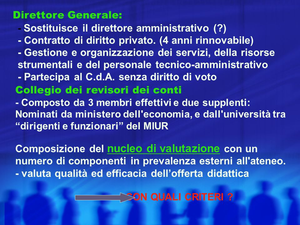Direttore Generale: - Sostituisce il direttore amministrativo (?) - Contratto di diritto privato. (4 anni rinnovabile) - Gestione e organizzazione dei