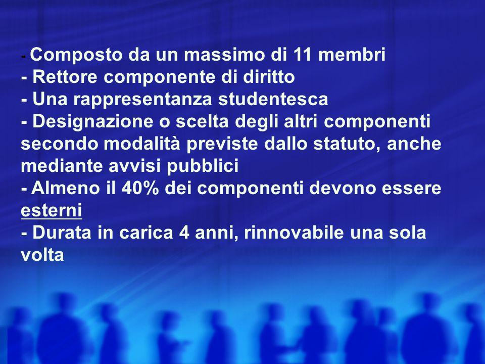 - Composto da un massimo di 11 membri - Rettore componente di diritto - Una rappresentanza studentesca - Designazione o scelta degli altri componenti