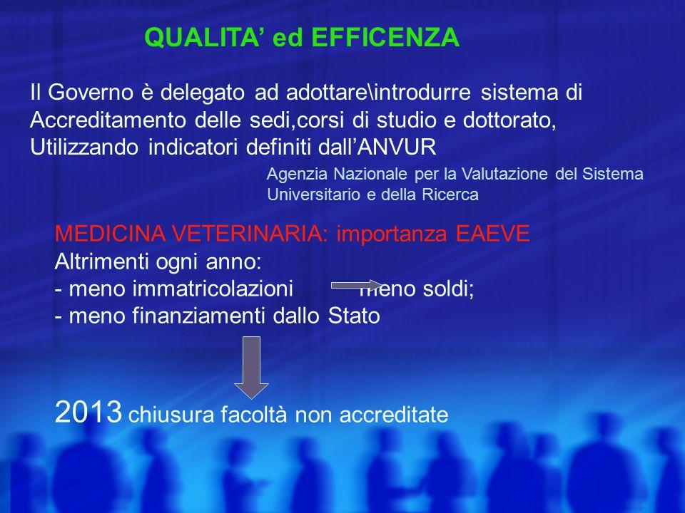 QUALITA' ed EFFICENZA Il Governo è delegato ad adottare\introdurre sistema di Accreditamento delle sedi,corsi di studio e dottorato, Utilizzando indic