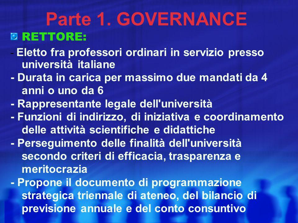 Parte 1. GOVERNANCE RETTORE: - Eletto fra professori ordinari in servizio presso università italiane - Durata in carica per massimo due mandati da 4 a