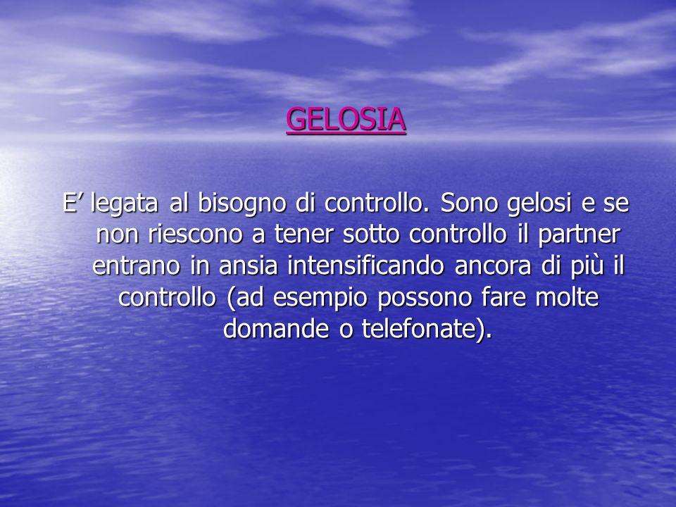 GELOSIA E' legata al bisogno di controllo.