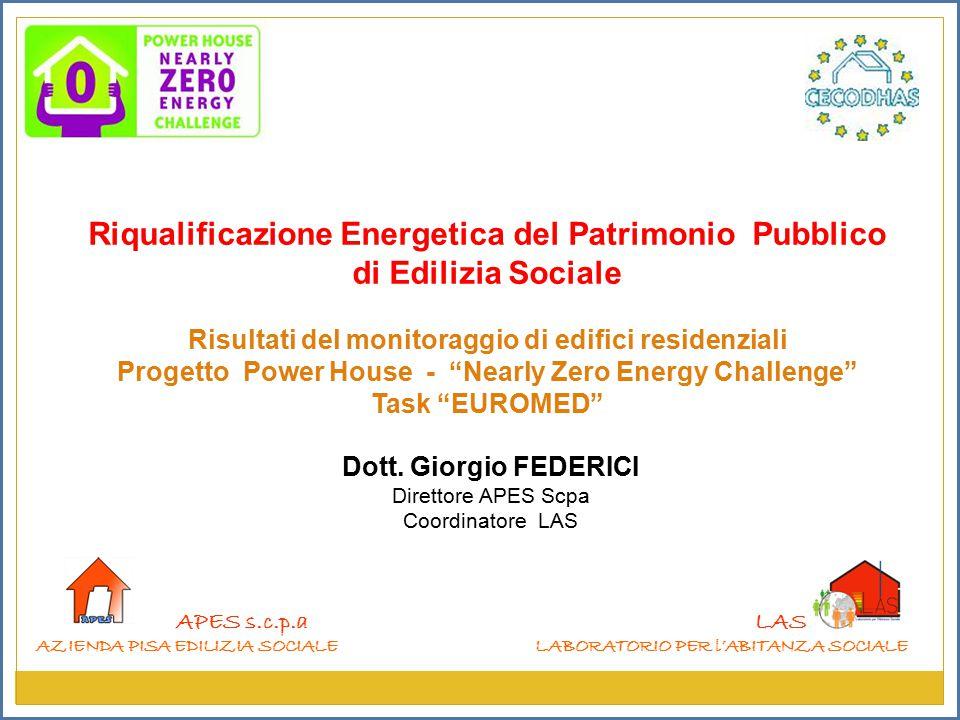 APES s.c.p.a AZIENDA PISA EDILIZIA SOCIALE LAS LABORATORIO PER l'ABITANZA SOCIALE Riqualificazione Energetica del Patrimonio Pubblico di Edilizia Sociale Risultati del monitoraggio di edifici residenziali Progetto Power House - Nearly Zero Energy Challenge Task EUROMED Dott.