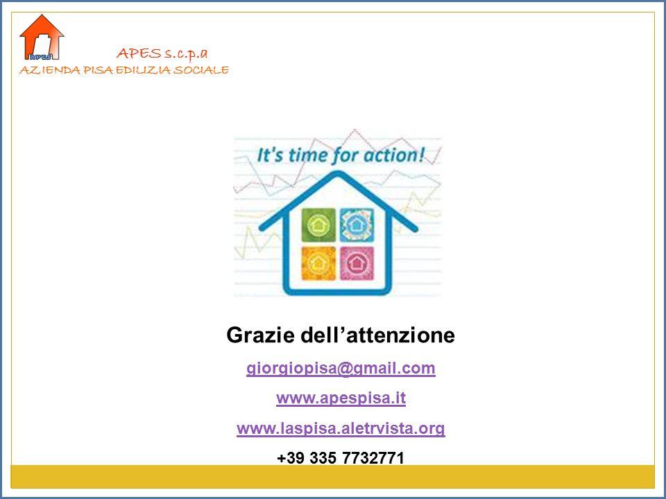 APES s.c.p.a AZIENDA PISA EDILIZIA SOCIALE Grazie dell'attenzione giorgiopisa@gmail.com www.apespisa.it www.laspisa.aletrvista.org +39 335 7732771