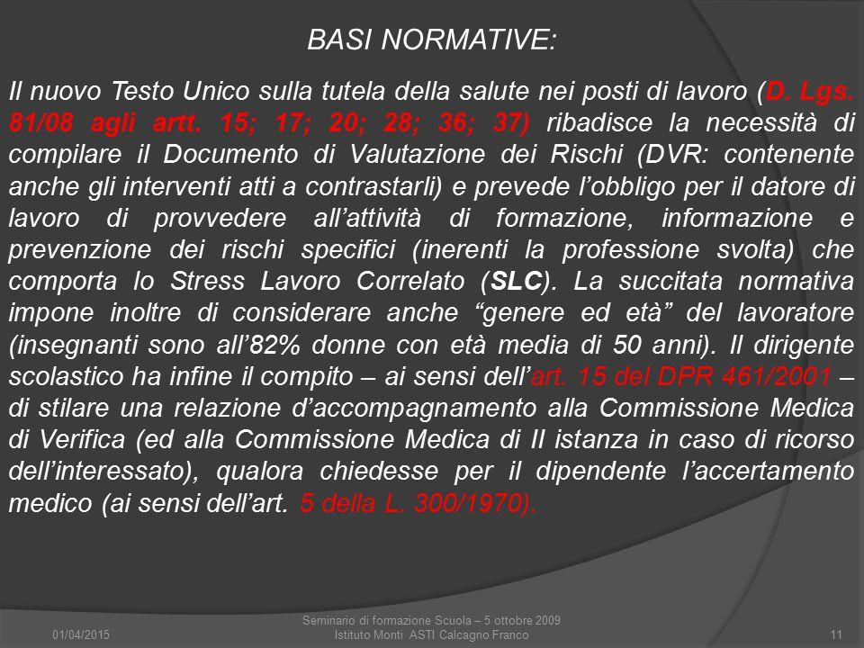 01/04/2015 Seminario di formazione Scuola – 5 ottobre 2009 Istituto Monti ASTI Calcagno Franco11 BASI NORMATIVE: Il nuovo Testo Unico sulla tutela del