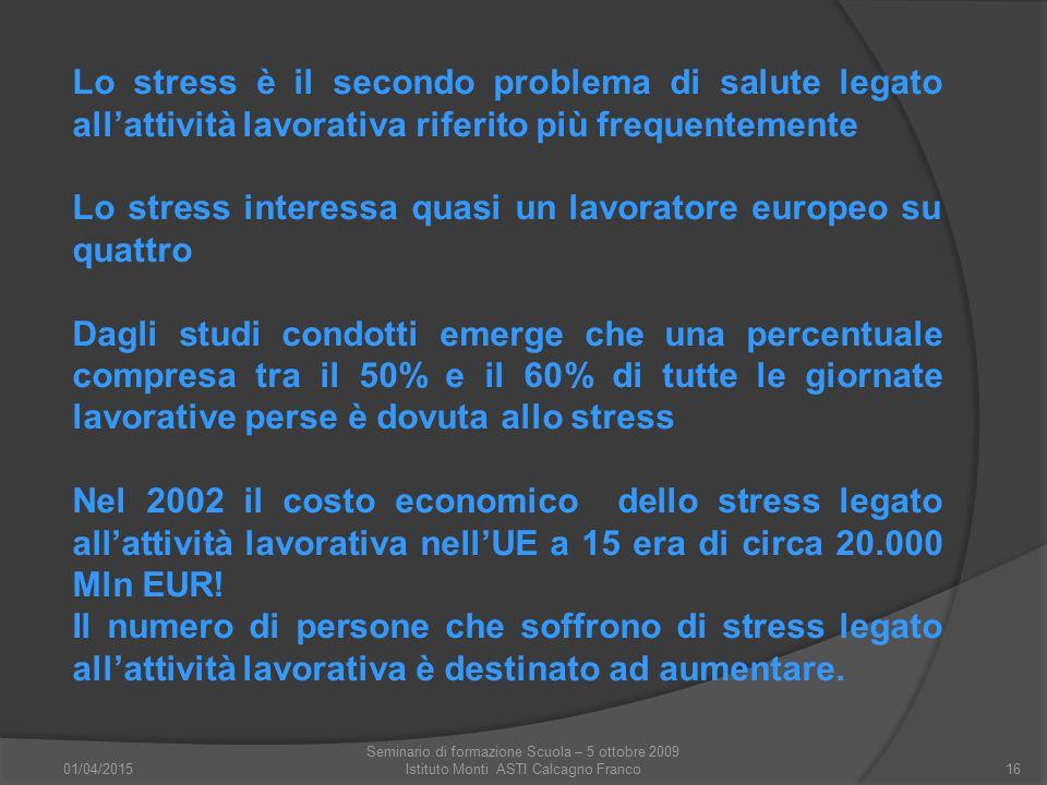 01/04/2015 Seminario di formazione Scuola – 5 ottobre 2009 Istituto Monti ASTI Calcagno Franco16 Lo stress è il secondo problema di salute legato all'