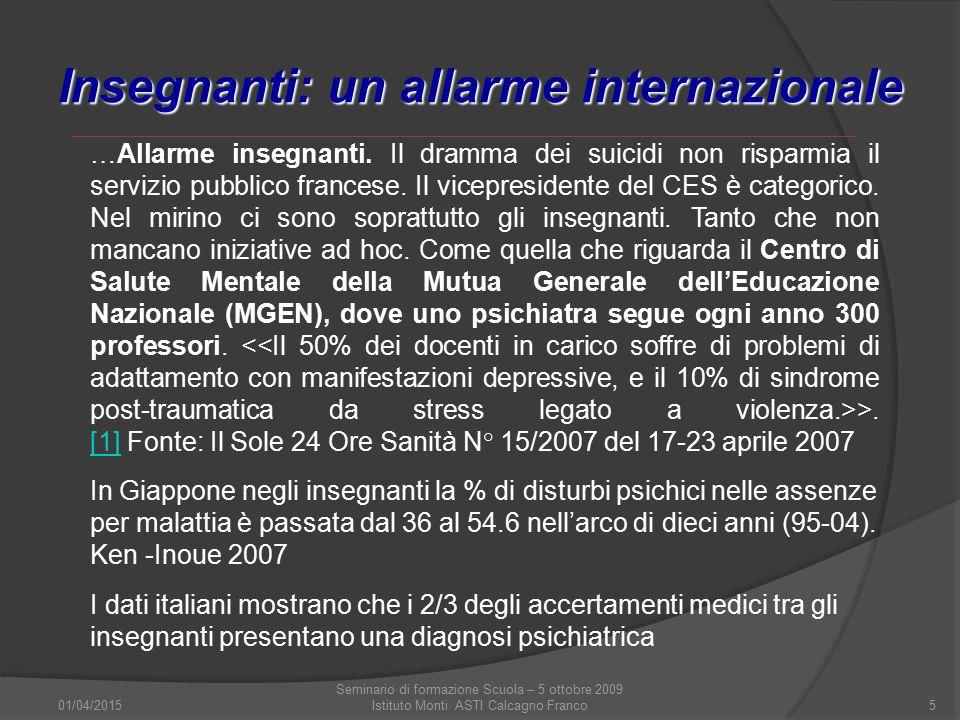 01/04/2015 Seminario di formazione Scuola – 5 ottobre 2009 Istituto Monti ASTI Calcagno Franco5 Insegnanti: un allarme internazionale …Allarme insegna