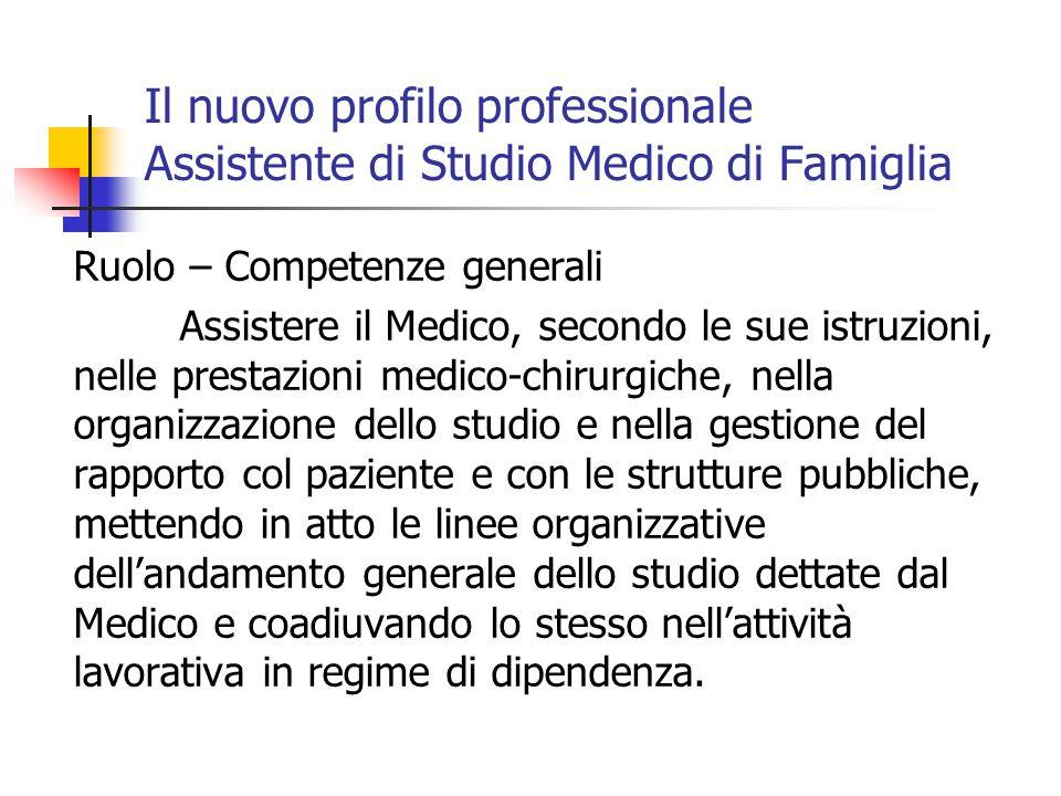 Il nuovo profilo professionale Assistente di Studio Medico di Famiglia Ruolo – Competenze generali Assistere il Medico, secondo le sue istruzioni, nel