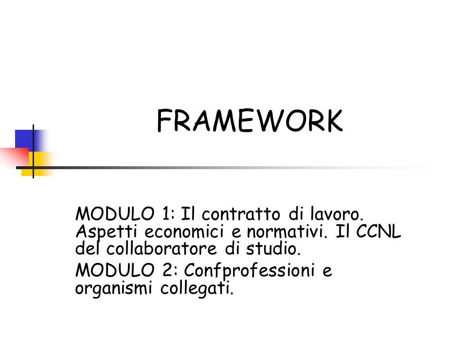FRAMEWORK MODULO 1: Il contratto di lavoro. Aspetti economici e normativi. Il CCNL del collaboratore di studio. MODULO 2: Confprofessioni e organismi