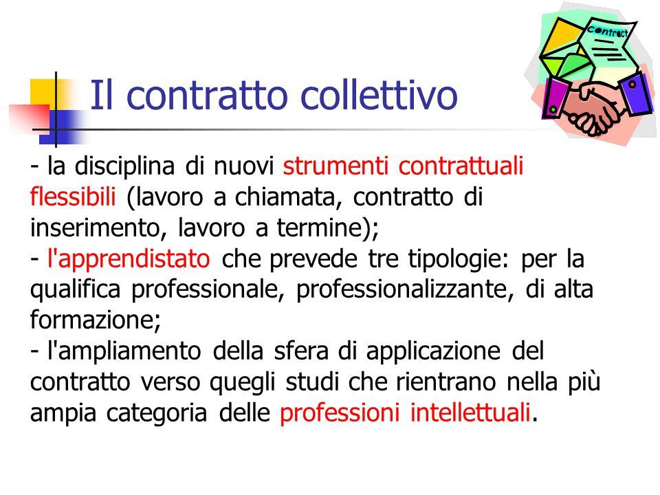 Il contratto collettivo - la disciplina di nuovi strumenti contrattuali flessibili (lavoro a chiamata, contratto di inserimento, lavoro a termine); -
