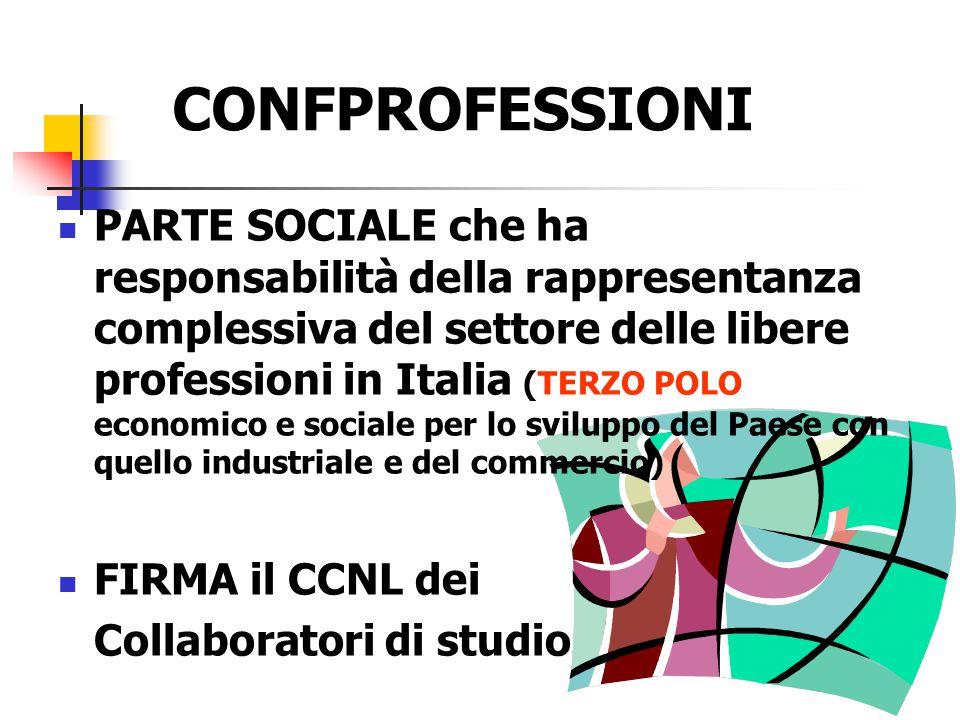 CONFPROFESSIONI PARTE SOCIALE che ha responsabilità della rappresentanza complessiva del settore delle libere professioni in Italia (TERZO POLO econom