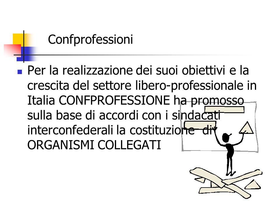 Per la realizzazione dei suoi obiettivi e la crescita del settore libero-professionale in Italia CONFPROFESSIONE ha promosso sulla base di accordi con