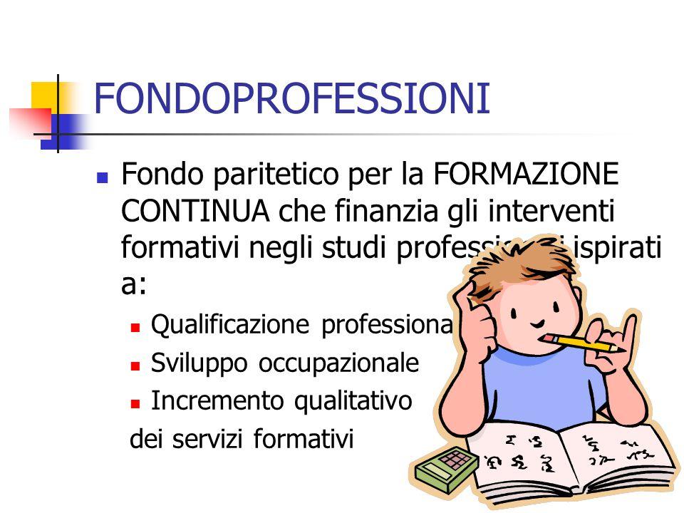 FONDOPROFESSIONI Fondo paritetico per la FORMAZIONE CONTINUA che finanzia gli interventi formativi negli studi professionali ispirati a: Qualificazion