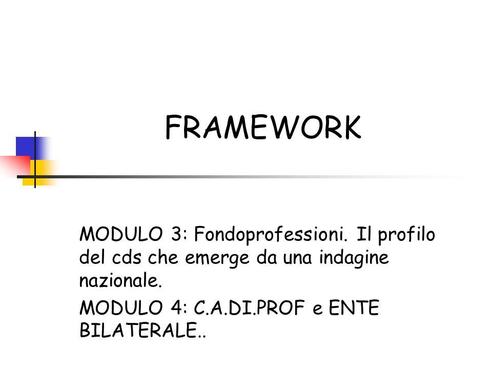 FRAMEWORK MODULO 3: Fondoprofessioni. Il profilo del cds che emerge da una indagine nazionale. MODULO 4: C.A.DI.PROF e ENTE BILATERALE..