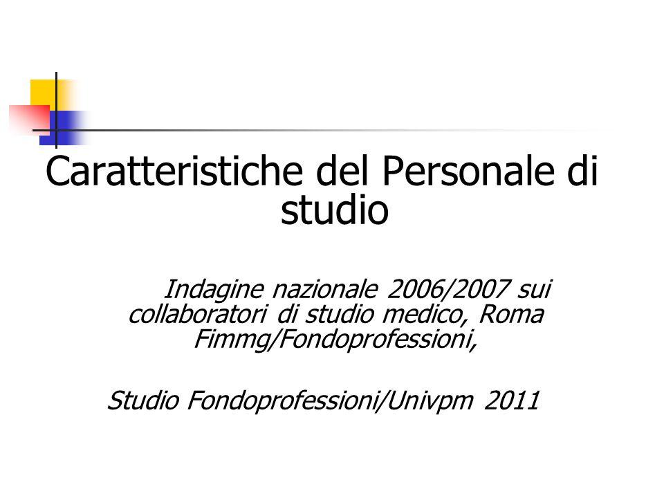 Caratteristiche del Personale di studio Indagine nazionale 2006/2007 sui collaboratori di studio medico, Roma Fimmg/Fondoprofessioni, Studio Fondoprof