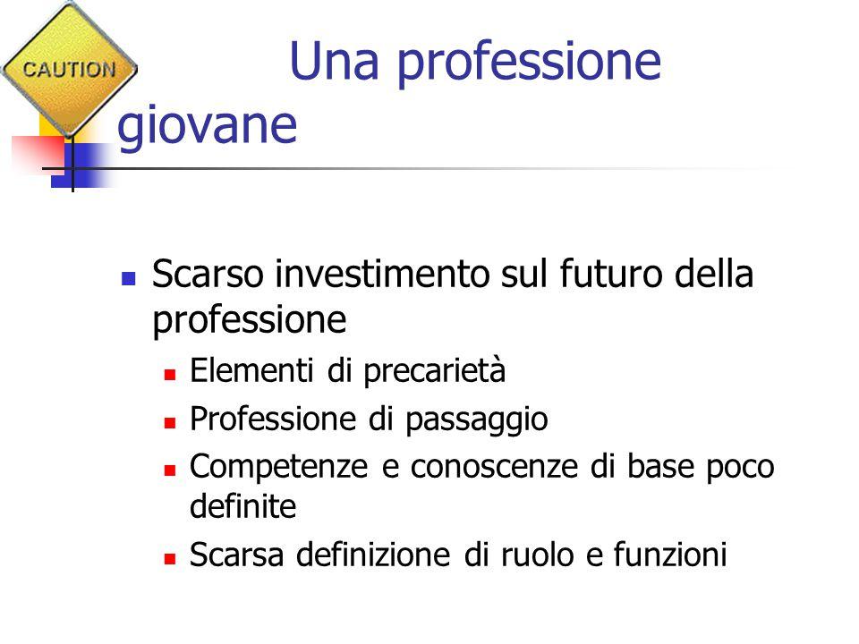 Una professione giovane Scarso investimento sul futuro della professione Elementi di precarietà Professione di passaggio Competenze e conoscenze di ba