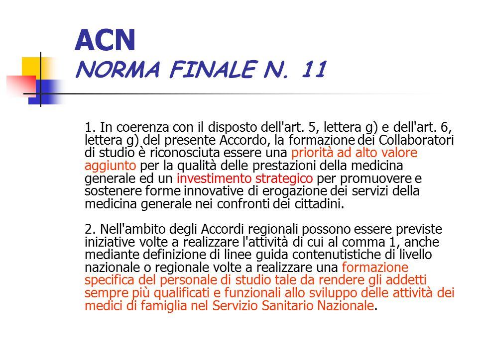 ACN NORMA FINALE N. 11 1. In coerenza con il disposto dell'art. 5, lettera g) e dell'art. 6, lettera g) del presente Accordo, la formazione dei Collab