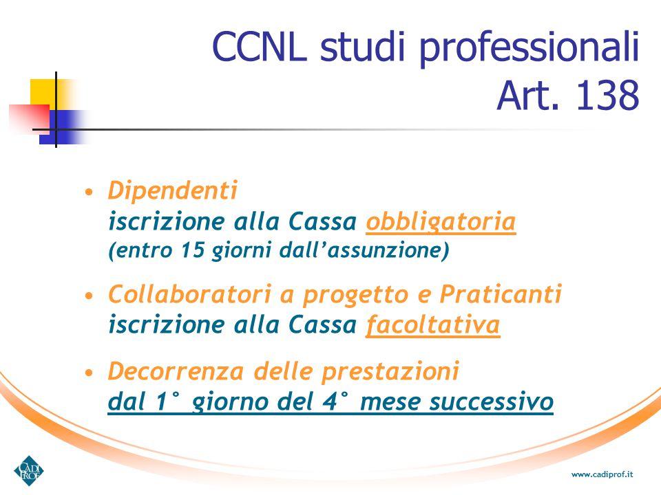 Dipendenti iscrizione alla Cassa obbligatoria (entro 15 giorni dall'assunzione) Collaboratori a progetto e Praticanti iscrizione alla Cassa facoltativ
