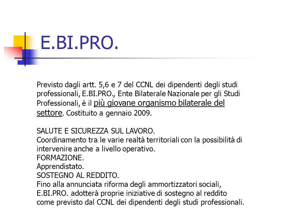 E.BI.PRO. Previsto dagli artt. 5,6 e 7 del CCNL dei dipendenti degli studi professionali, E.BI.PRO., Ente Bilaterale Nazionale per gli Studi Professio