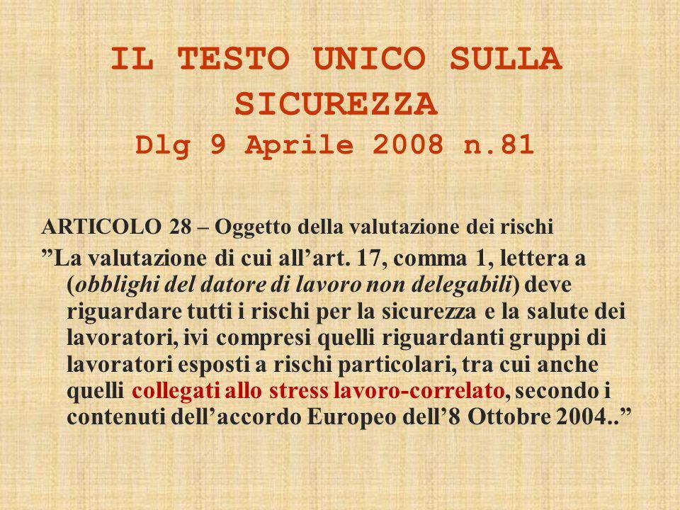 IL TESTO UNICO SULLA SICUREZZA Dlg 9 Aprile 2008 n.81 ARTICOLO 28 – Oggetto della valutazione dei rischi La valutazione di cui all'art.