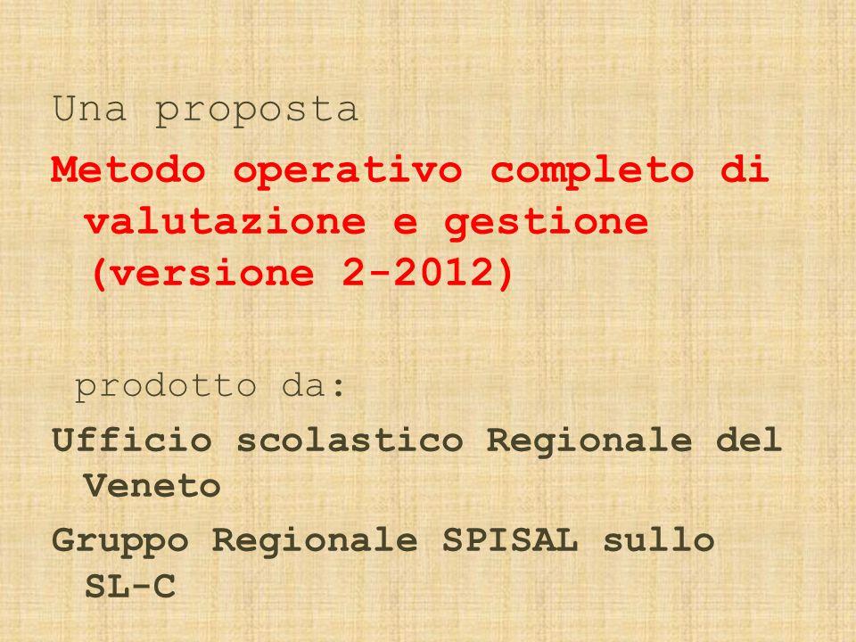 Una proposta Metodo operativo completo di valutazione e gestione (versione 2-2012) prodotto da: Ufficio scolastico Regionale del Veneto Gruppo Regionale SPISAL sullo SL-C