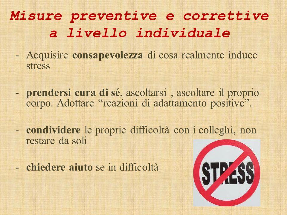 Misure preventive e correttive a livello individuale -Acquisire consapevolezza di cosa realmente induce stress -prendersi cura di sé, ascoltarsi, ascoltare il proprio corpo.