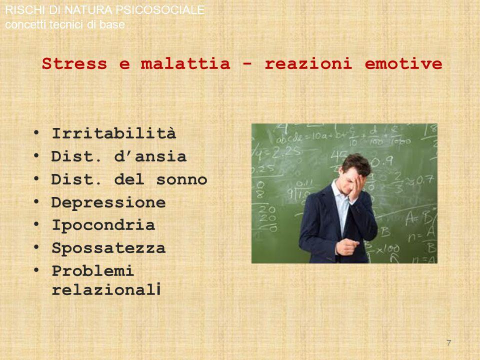 Stress e malattia - reazioni emotive Irritabilità Dist.