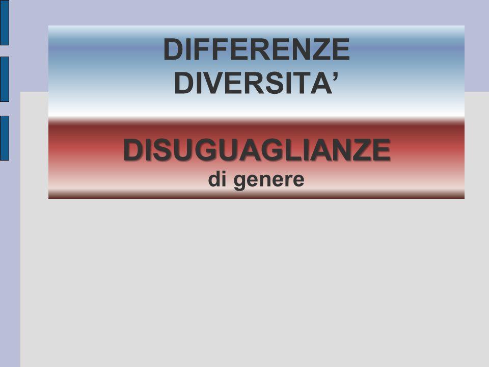 DISUGUAGLIANZE DIFFERENZE DIVERSITA' DISUGUAGLIANZE di genere