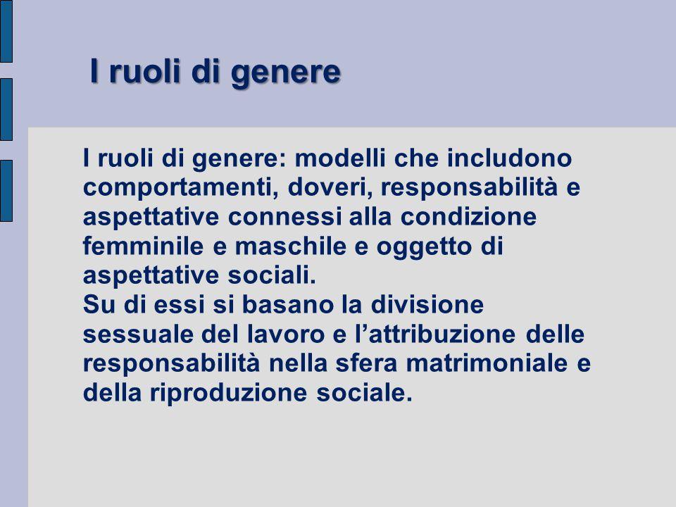I ruoli di genere: modelli che includono comportamenti, doveri, responsabilità e aspettative connessi alla condizione femminile e maschile e oggetto d