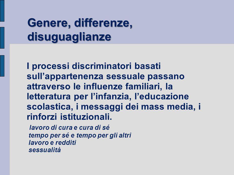 I processi discriminatori basati sull'appartenenza sessuale passano attraverso le influenze familiari, la letteratura per l'infanzia, l'educazione sco