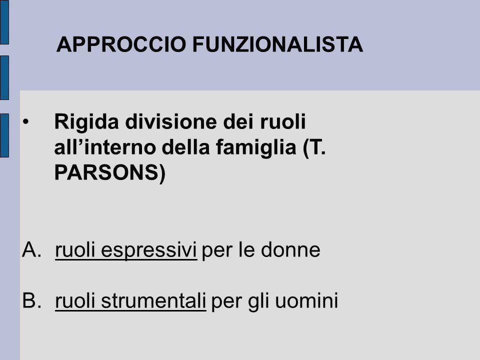APPROCCIO FUNZIONALISTA Rigida divisione dei ruoli all'interno della famiglia (T. PARSONS) A. ruoli espressivi per le donne B. ruoli strumentali per g