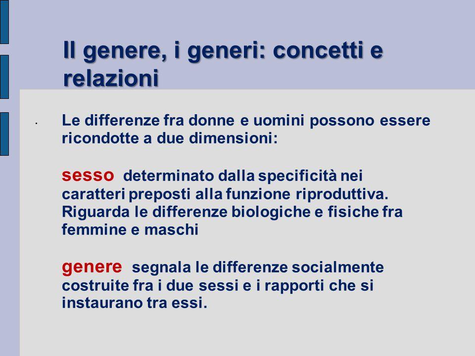 Genere e sesso sono termini interrelati ma non sinonimi il genere è un processo che trasforma le differenze biologiche in differenze sociali e definisce donna e uomo.