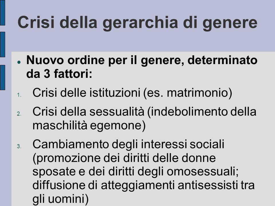 Crisi della gerarchia di genere Nuovo ordine per il genere, determinato da 3 fattori: 1. Crisi delle istituzioni (es. matrimonio) 2. Crisi della sessu