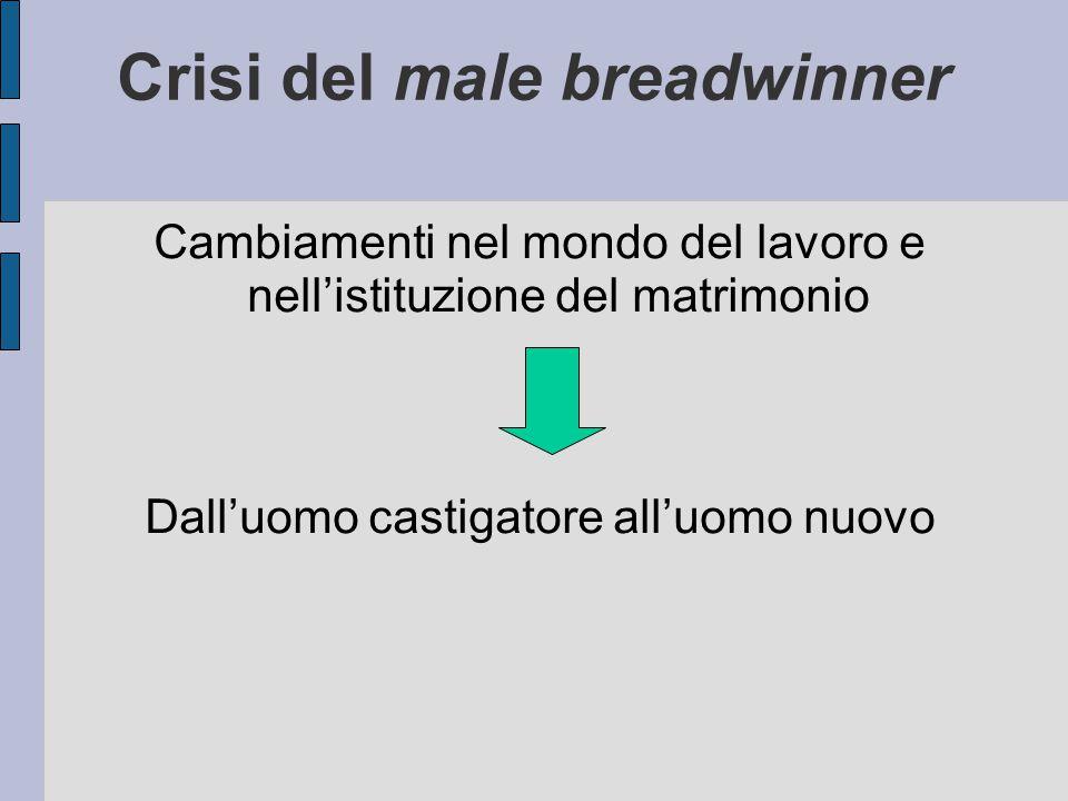 Crisi del male breadwinner Cambiamenti nel mondo del lavoro e nell'istituzione del matrimonio Dall'uomo castigatore all'uomo nuovo