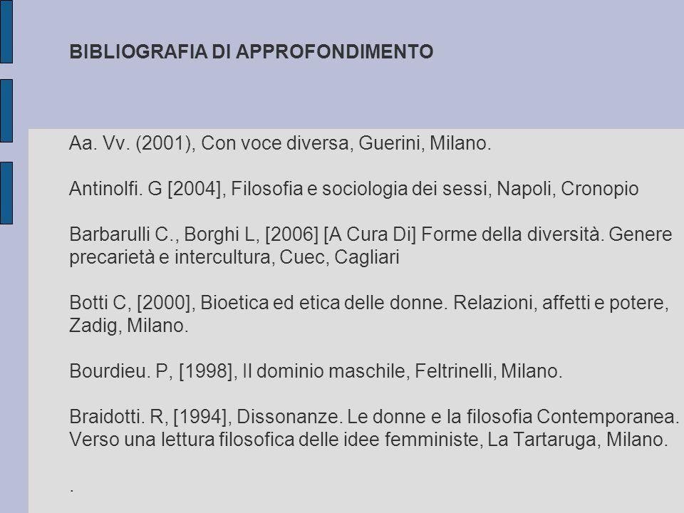 BIBLIOGRAFIA DI APPROFONDIMENTO Aa. Vv. (2001), Con voce diversa, Guerini, Milano. Antinolfi. G [2004], Filosofia e sociologia dei sessi, Napoli, Cron