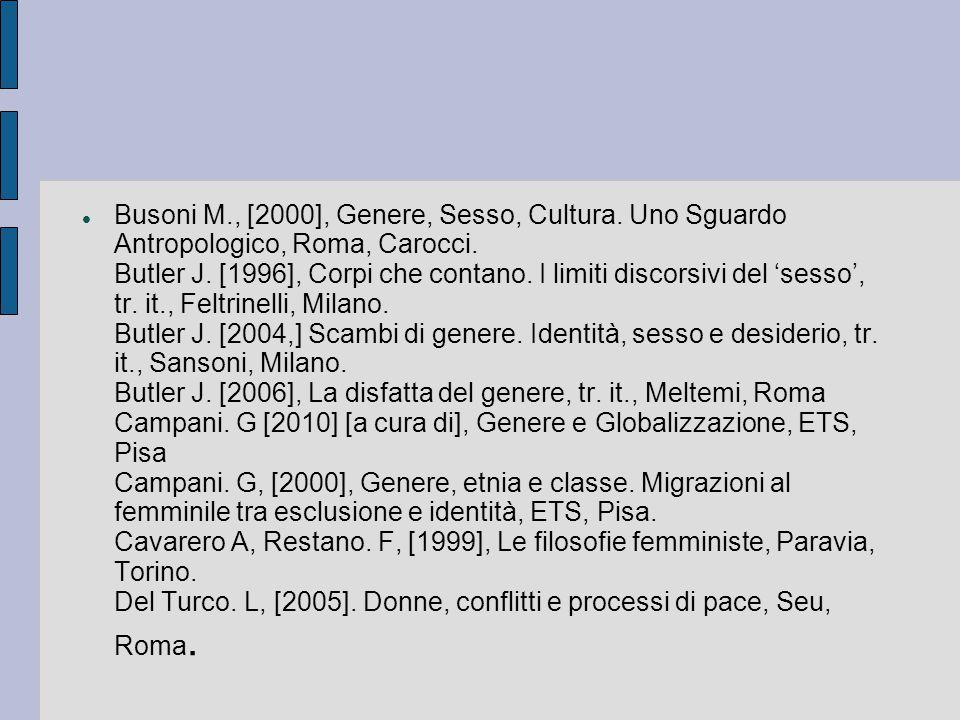 Busoni M., [2000], Genere, Sesso, Cultura. Uno Sguardo Antropologico, Roma, Carocci. Butler J. [1996], Corpi che contano. I limiti discorsivi del 'ses