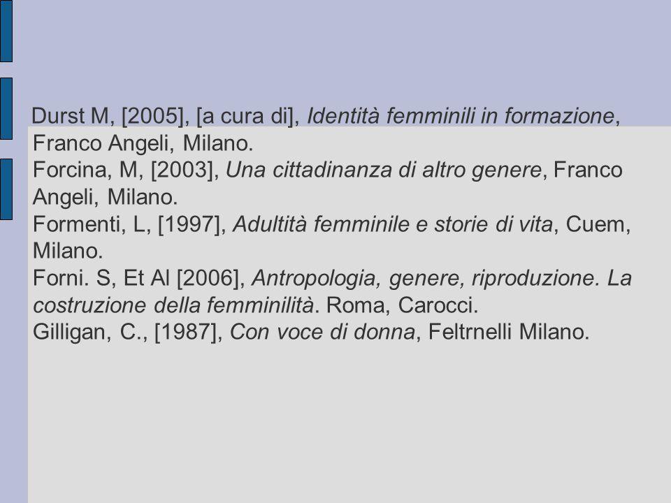Durst M, [2005], [a cura di], Identità femminili in formazione, Franco Angeli, Milano. Forcina, M, [2003], Una cittadinanza di altro genere, Franco An